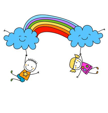 happy kids with rainbow