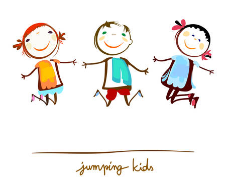 little boy and girl: happy kids jumping