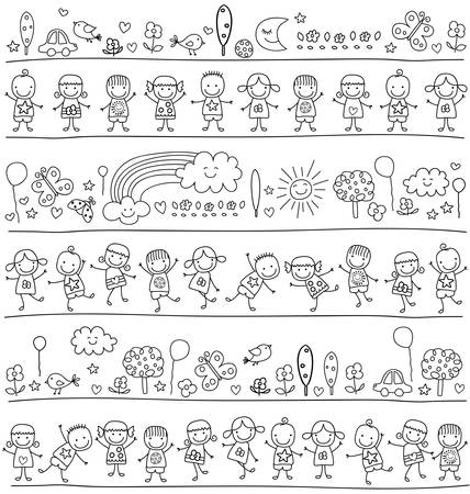 nursery school: group of kids, child like style drawing Illustration