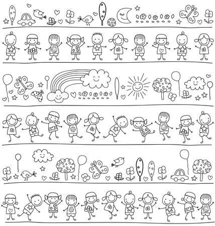 dibujos lineales: grupo de niños, niño como el dibujo de estilo