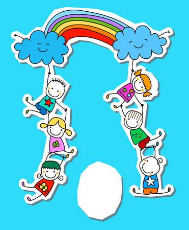 虹と幸せな子供