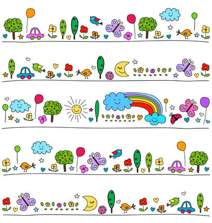 kindergarten: colorful pattern for children with cute nature elements, child like drawing style