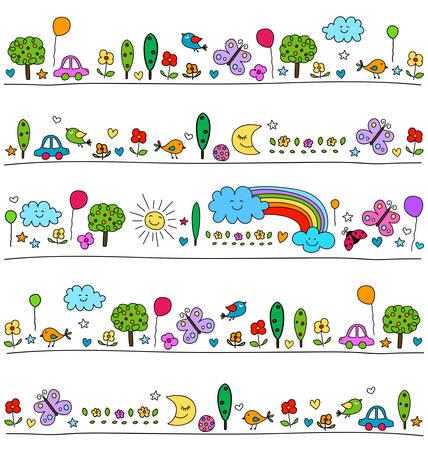 kinder: patr�n de colores para los ni�os con elementos de la naturaleza lindo, ni�o como estilo de dibujo Vectores