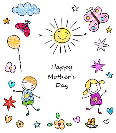 happy mother`s day card  イラスト・ベクター素材
