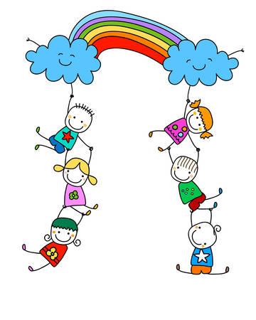 Des enfants heureux avec arc en ciel Banque d'images - 39348619