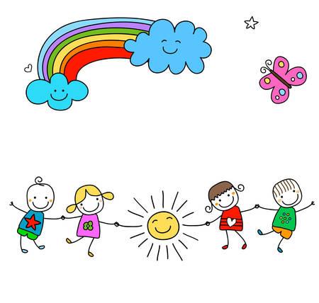 preescolar: felices los niños jugando Vectores