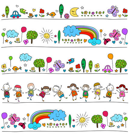 colorful pattern for children with cute nature elements, child like drawing style Zdjęcie Seryjne - 39348627