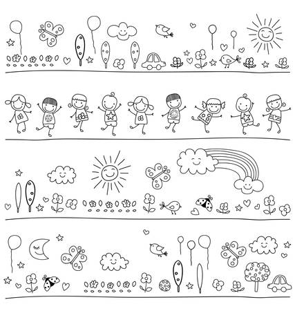 black and white line drawing: black and white pattern for children with cute nature elements, child like drawing style