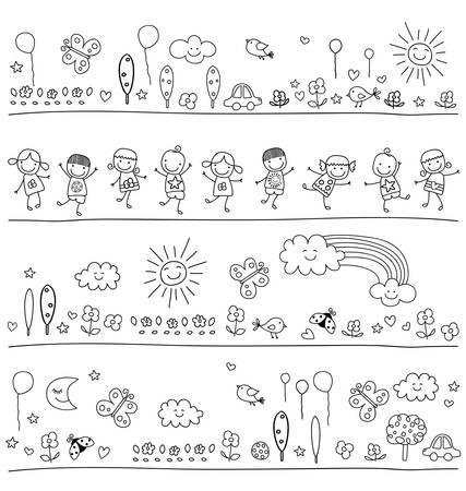 ni�os con l�pices: Modelo blanco y negro para los ni�os con elementos de la naturaleza lindo, ni�o como estilo de dibujo Vectores