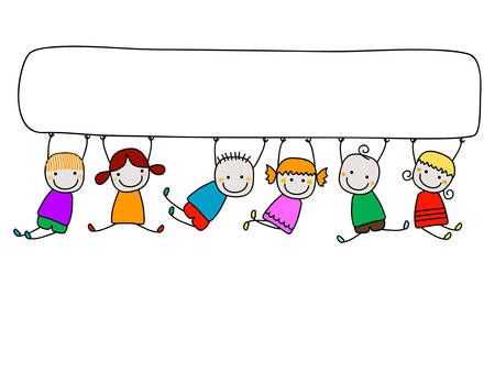 the animated cartoon: happy kids with banner Illustration