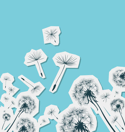 posterity: silhouettes of dandelions in the wind Illustration