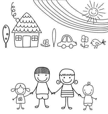 happy family and rainbow, black and white child like drawing Vector