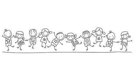 felices los niños jugando Vectores