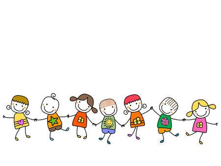 cadenas: felices los niños jugando Vectores