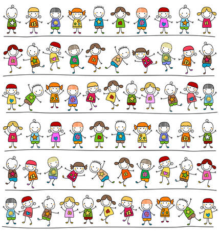 かわいい子供たちのパターン、子供のようなスタイルの描画  イラスト・ベクター素材