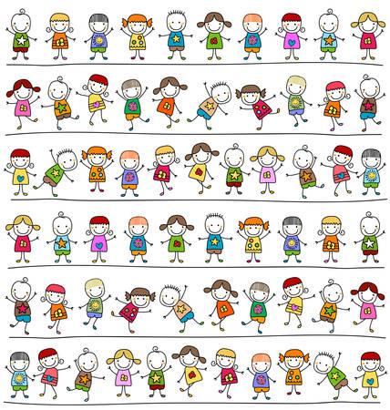 cute kids pattern, childlike style drawing Stock Illustratie