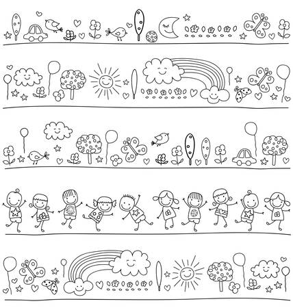pattern for children with cute nature elements, child like drawing style Vector