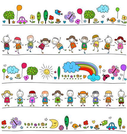 カラフルなパターンの子供とかわいい自然要素と描画スタイルのような子  イラスト・ベクター素材