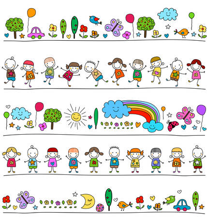 colorful pattern with children and cute nature elements, child like drawing style Zdjęcie Seryjne - 39585644