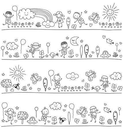 happy people white background: black and white pattern for children with cute nature elements, child like drawing style