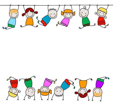 ni�os con pancarta: felices los ni�os jugando Vectores
