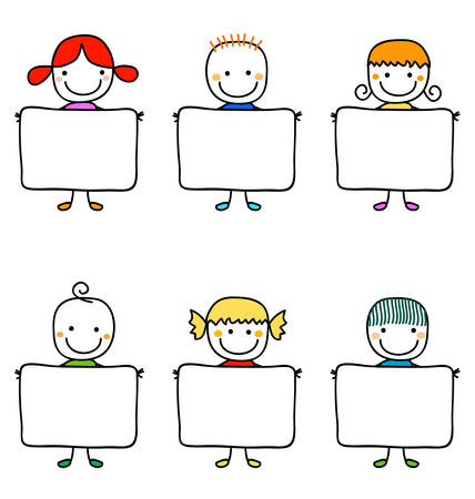 happy kids with banners Illustration