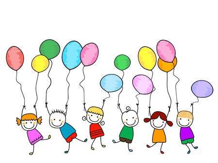 happy kids with balloons Ilustrace