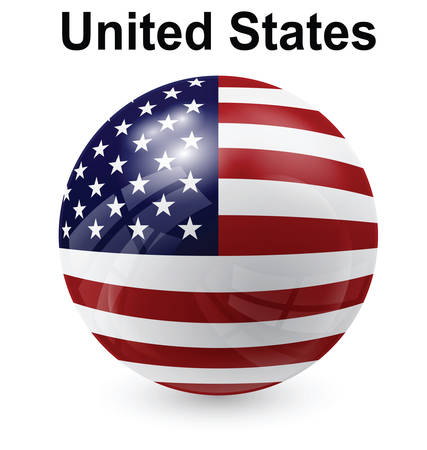world ball: United states official flag, button ball Illustration