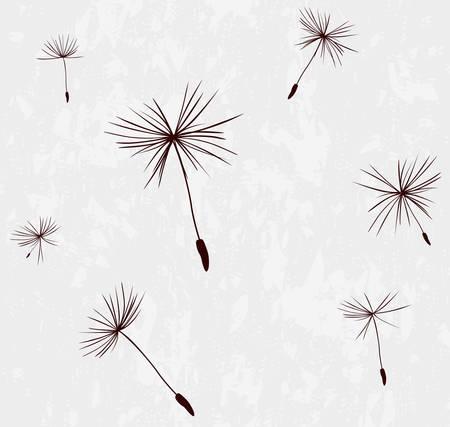 siluetas de las semillas de diente de león en el viento