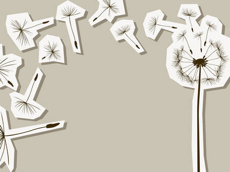 overblown: silhouettes of dandelion in the wind Illustration