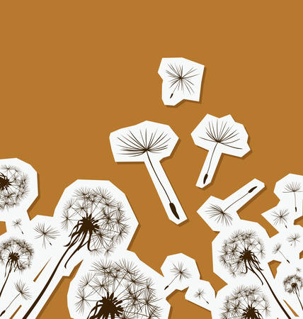 flimsy: silhouettes of dandelions in the wind Illustration