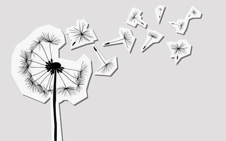 dandelion wind: silhouettes of dandelion in the wind Illustration