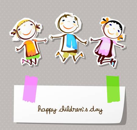 幸せな子供の日  イラスト・ベクター素材