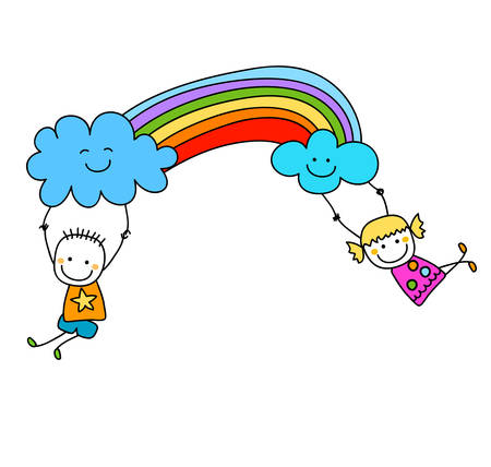 the animated cartoon: happy kids with rainbow