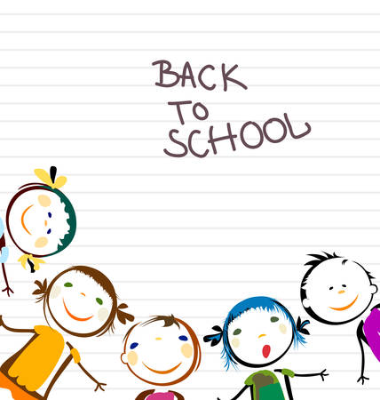 happy kids back to school Иллюстрация