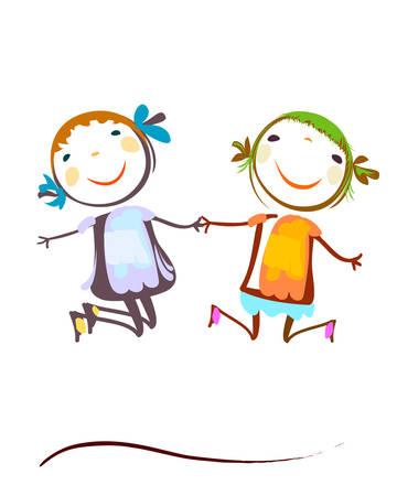 Enfants heureux de sauter Banque d'images - 39980716