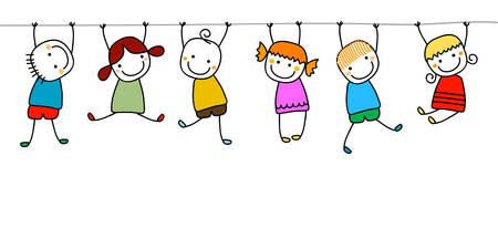niños jugando en la escuela: felices los niños jugando Vectores