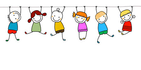 the animated cartoon: happy kids playing
