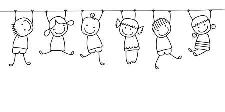 niños sanos: felices los niños jugando Vectores