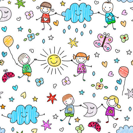 seamless pattern with happy kids playing