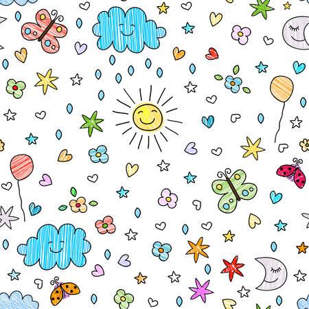 sol caricatura: Modelo inconsútil colorido para los niños