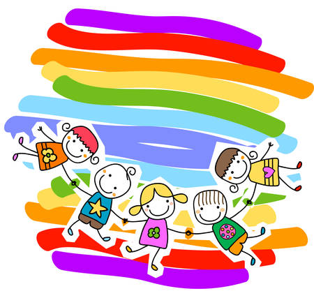 familia animada: felices los niños