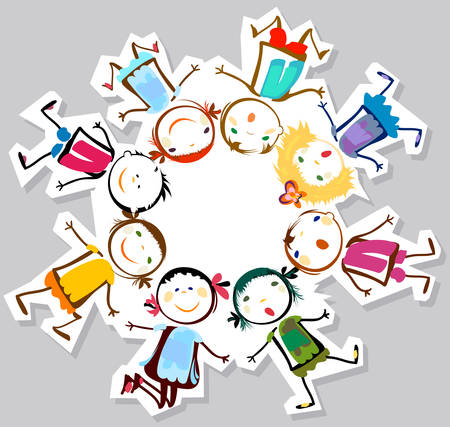 enfant qui joue: des enfants heureux  Illustration