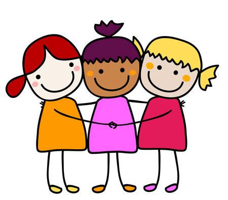 niñas jugando: mejores amigos  Vectores