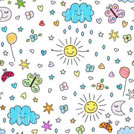 colorful seamless pattern for kids 일러스트