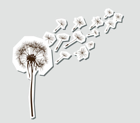 dandelion wind: silhouettes of dandelion in the wind Illustration