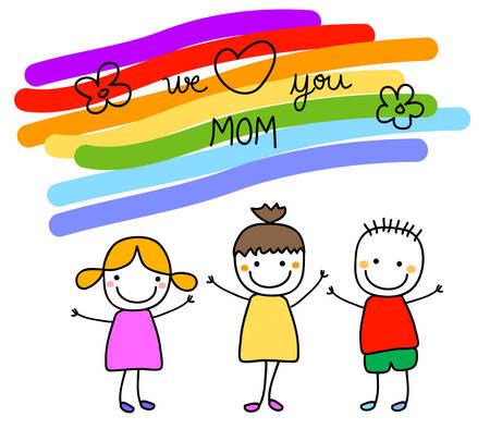 familia animada: día de las madres feliz