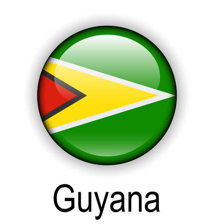 flag button: guyana official flag, button ball Illustration