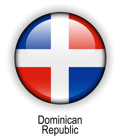 dominican republic: dominican republic official state button ball flag Illustration