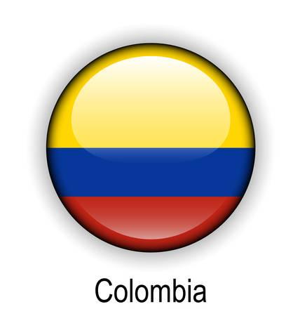 colombia official flag, button ball Vector